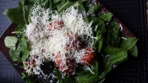 before spinach and meatballs microwaved