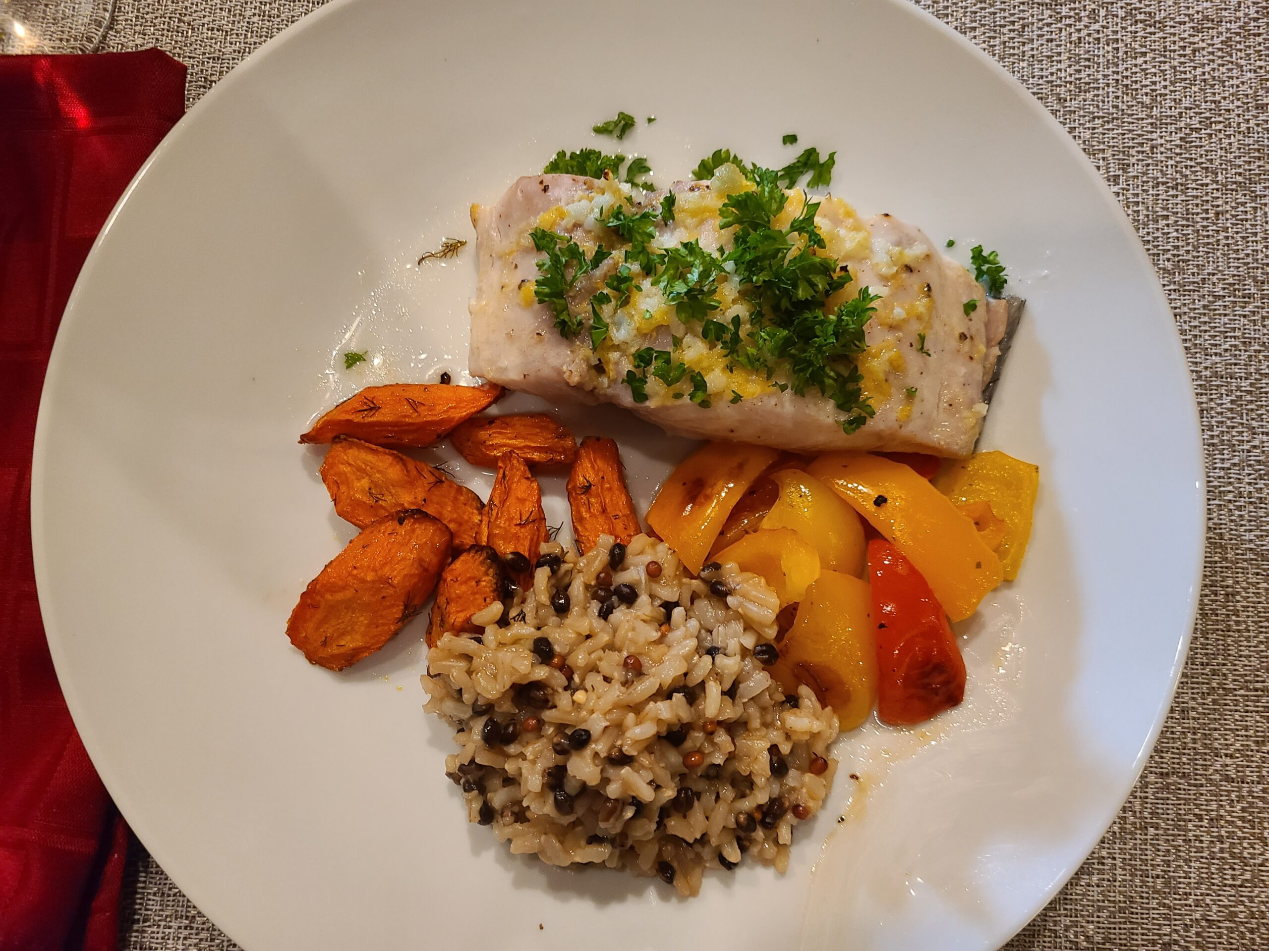 Mahi Mahi, Trader Joe's Brown Rice Medley, Roasted Carrots with Dill, Roasted Red and Yellow Peppers.